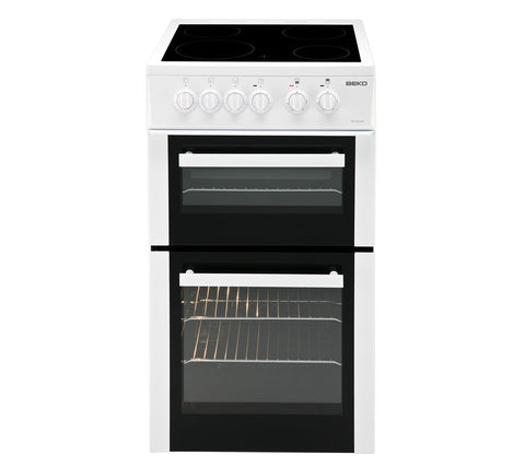 BEKO WHITE 50CM ELECTRIC COOKER WITH DOUBLE OVEN AND CERAMIC HOB - MK Choices CIC