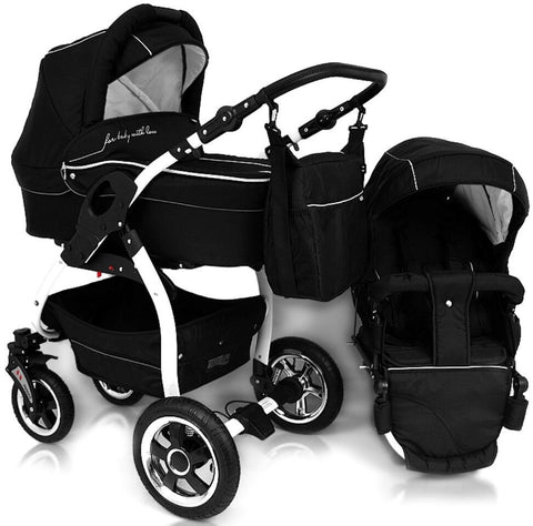 DaVos Lucky 2in1 Pram - Black/White