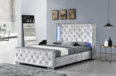 Dorchester LED Winged Crushed Velvet Bed