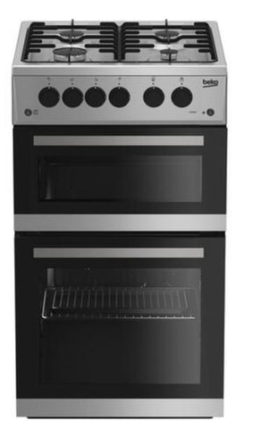 Beko 50 cm Twin Cavity Gas Cooker - Silver