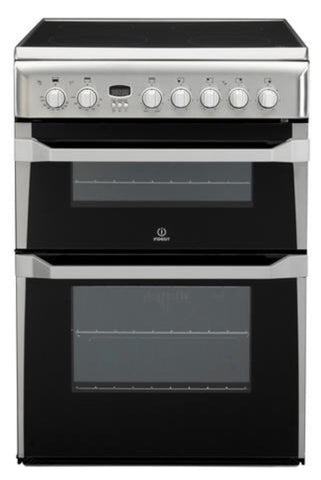 Indesit 60cm Double Oven Electric Cooker with Ceramic Hob - Silver