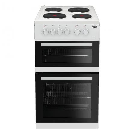 BEKO WHITE 50CM TWIN CAVITY ELECTRIC COOKER WITH SOLID PLATE HOB