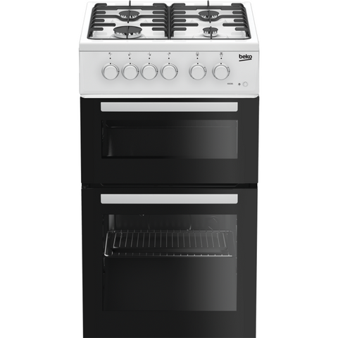 BEKO WHITE 50CM TWIN CAVITY GAS COOKER