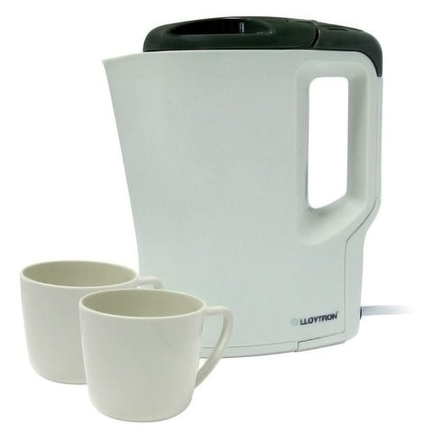 LLOYTRON 0.9LTR TRAVEL KETTLE WITH 2 PLASTIC MUGS - MK Choices CIC