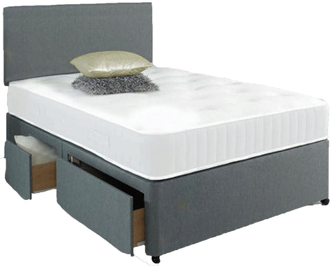 Divan Bed Set with 2 Drawer Base, Headboard and Mattress