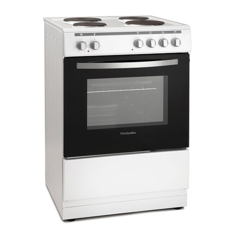 MONTPELLIER WHITE 60CM SINGLE CAVITY ELECTRIC COOKER WITH SOLID PLATE HOB - MK Choices CIC