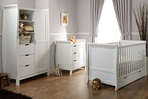 Stamford Cot Bed 3 Piece Bedroom Furniture Set - White