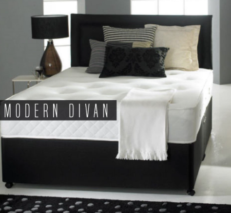 Divan Bed Set With 2 Drawer Base Headboard And Mattress