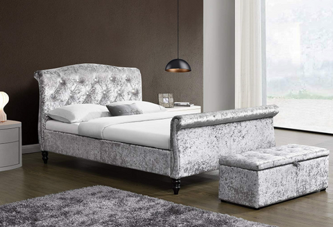 St James Crushed Velvet Sleigh Bed