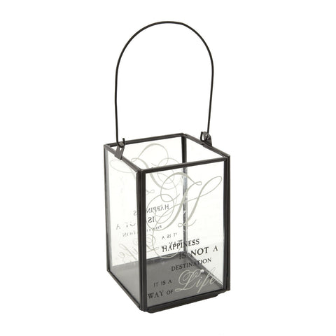 Metal and Glass Square Candle Holder