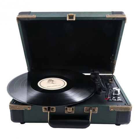 GPO Ambassador Retro Style Briefcase Turntable in Green
