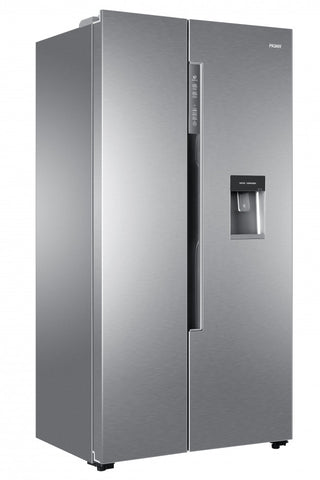 HAIER SILVER TOTAL FROST FREE SIDE BY SIDE FRIDGE FREEZER WITH WATER DISPENSER