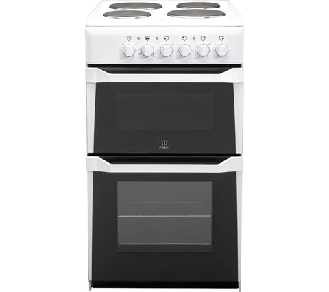 INDESIT WHITE 50CM TWIN CAVITY ELECTRIC COOKER WITH SEALED PLATE HOB