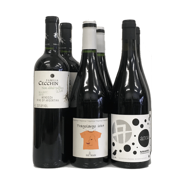 Lowest Natural Level Sulphites Case of 6 Organic Wines (Red) - Wine Sulphites - Sulphite Free Wines