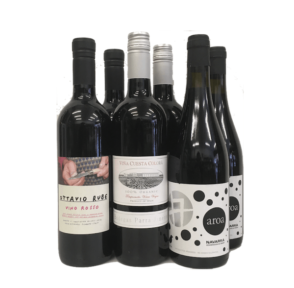 No Sulphites Added Case of 6 Organic Wines (Red) - Wine Sulphites - Sulphite Free Wines
