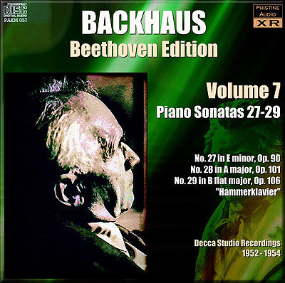 BACKHAUS Beethoven: Complete Piano Sonatas, Vol. 7 (1952/54) - PAKM057