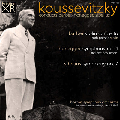 KOUSSEVITZKY conducts Barber, Honegger & Sibelius (1948/9) - PASC561