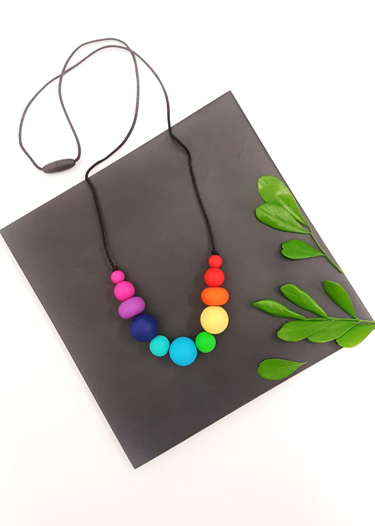 Fun, simple and super lightweight, this necklace is a wardrobe essential for those who want something a little more 'minimal' while still adding a splash of colour to any outfit. - Rainbow Bubbles Necklace - Bowerbird Creations