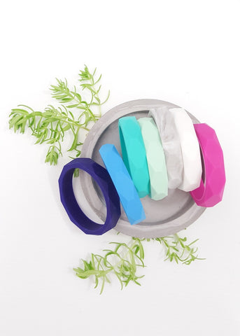 Light-weight and modern, these geometric bangles are the perfect accessory for Mums, Active women, People who love cooking and office workers alike.  Mums love this accessory as it can double as a Teething toy for baby while out and about. - Silicone Geo Bangle - Bowerbird Creations