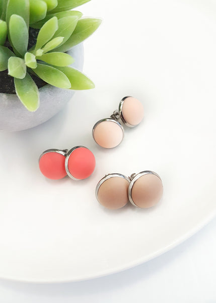 These little pops of colour have been made using 100% Surgical stainless steel and little silicone 'bubbles'. They are hypoallergenic and easy to clean so are perfect for even the most sensitive of ears! - Pop Earrings - Bowerbird Creations