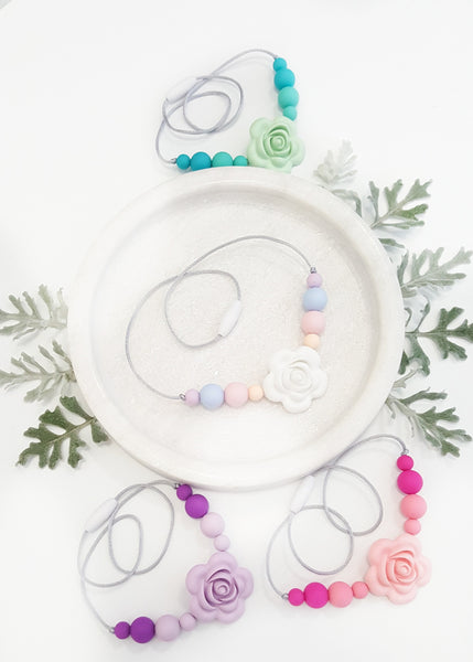 This little rose necklace (like all of our items) is non-toxic, light weight and best of all, easy to clean.  - Rosey Children's Necklace - Bowerbird Creations