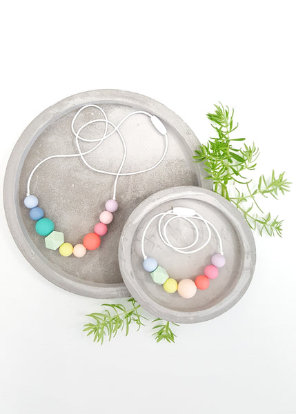 A necklace set (also available separately) created in beautiful pastel hues of soft, Non-toxic silicone beads for Mamma and Mini! - Mellow Silicone Necklace - Bowerbird Creations