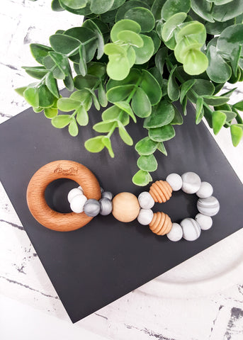 An exclusive and original design to BowerBird Creations! Created with soft silicone paired with a gorgeous Beech timber Bead and Ring - Infinity Silver Teething Toy - Bowerbird Creations