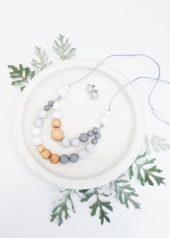 A modern, fresh ladies necklace with twin strands of Bpa-free silicone beads & Beech timber features - Mirage Necklace - Bowerbird Creations