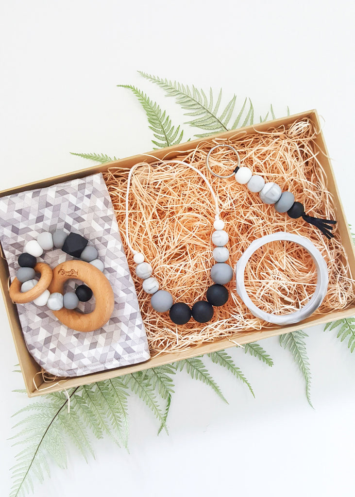 Teether, Necklace and Keyring gift set - Ebony & Ivory Boxed Gift Set - Bowerbird CreationsThis beautiful collection of matching items comes gift boxed, finished with ribbon and a gift tag. This item also includes free regular tracked shipping!
