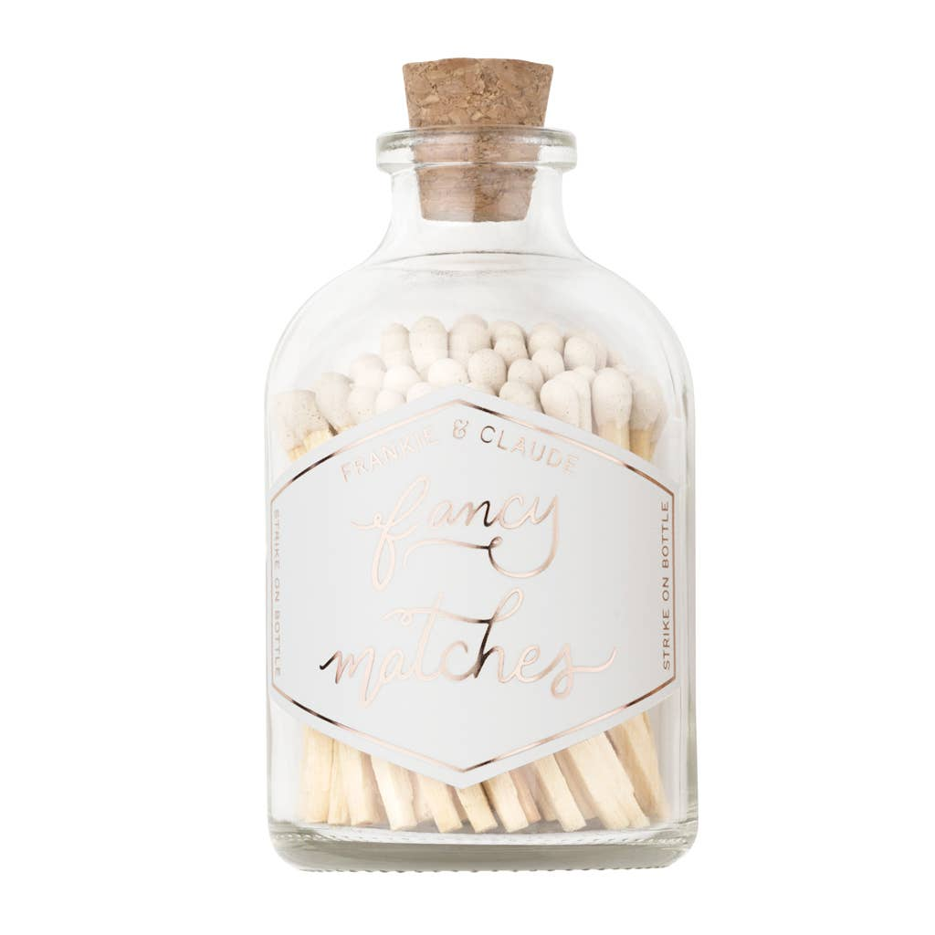 Frankie & Claude Match Jar-White