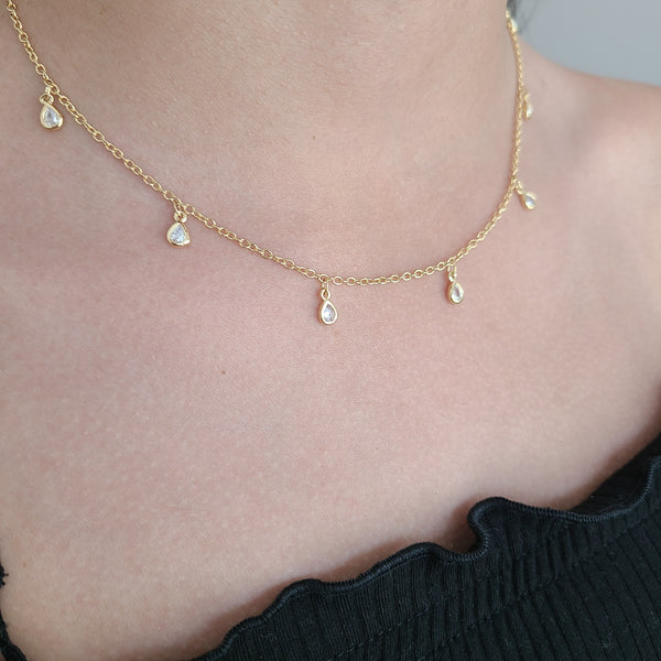 CZ Tear Drop Necklace