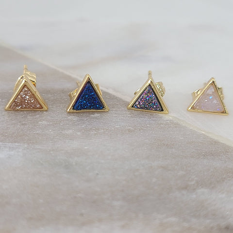 Triangle Druzy Studs (Choose Color)