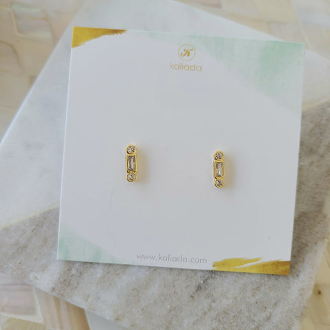 CZ Baguette Stud Earrings