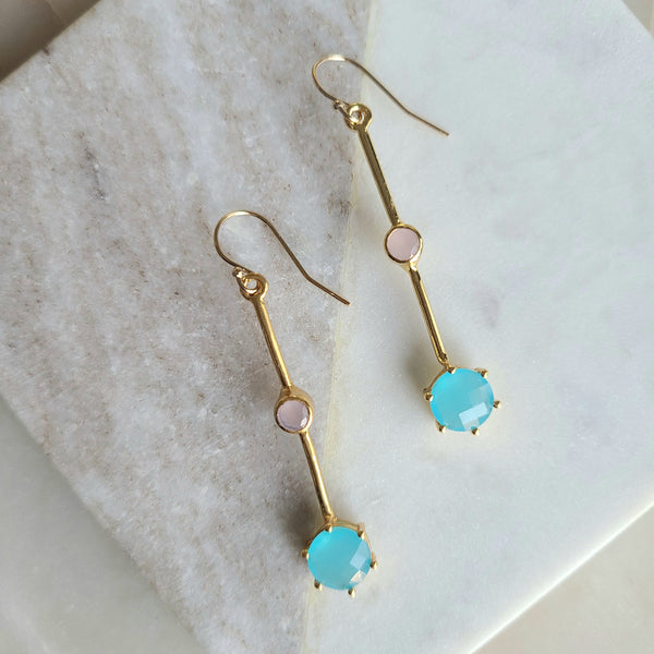 Sky Blue +Rose Chalcedony Earrings