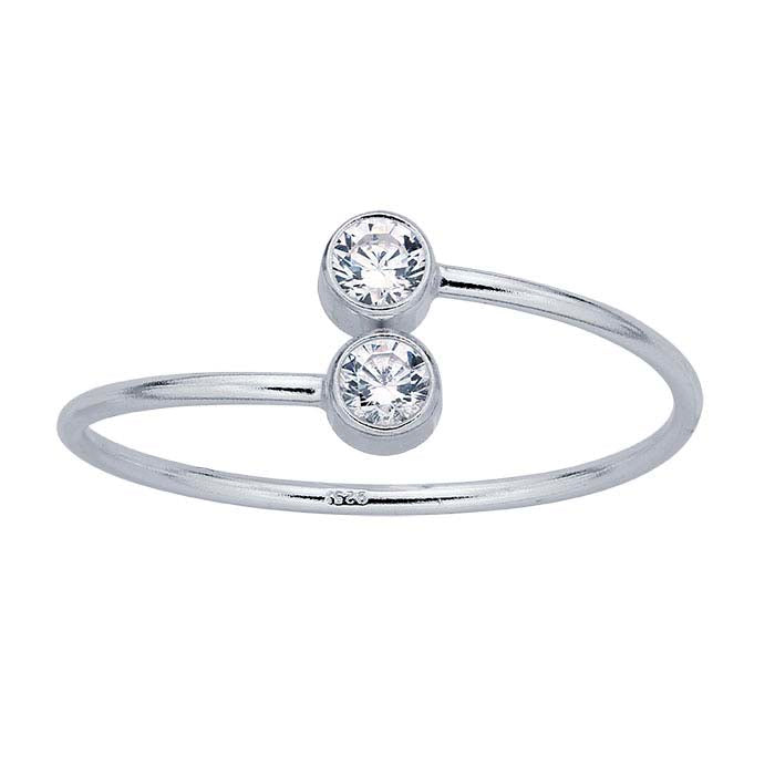 CZ Adjustable Ring-Silver