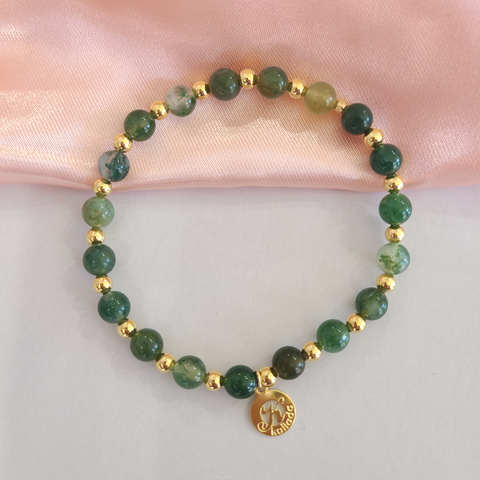 Moss Agate Intention Bracelet for New Beginnings -Single