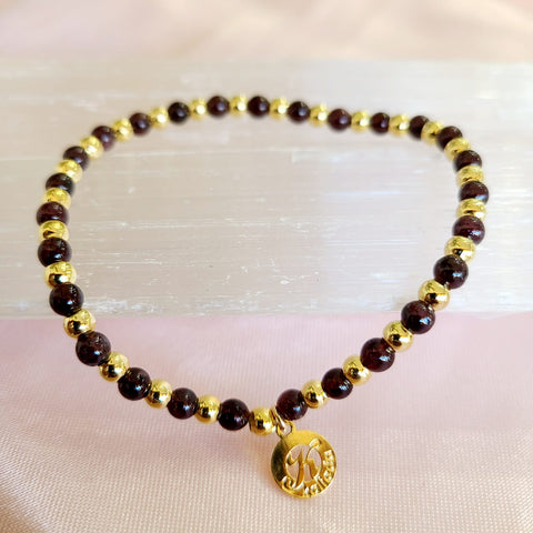 Garnet-Intention Bracelet for Grounding