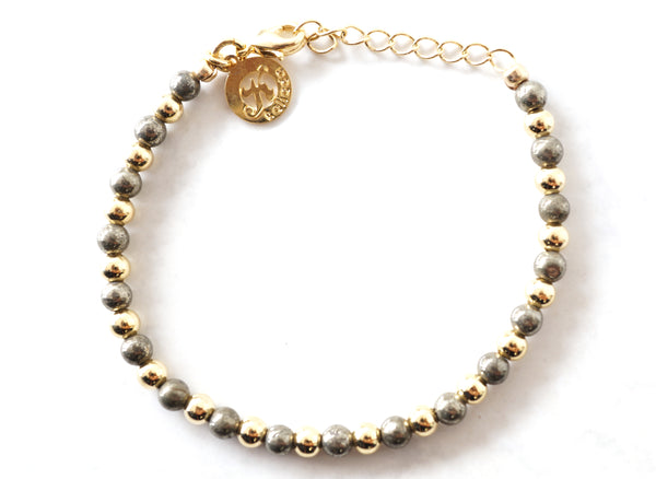 Pyrite Intention Bracelet for Confidence-Clasp