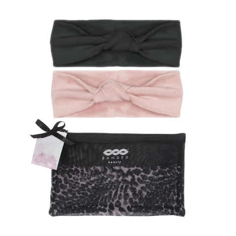 Leopard Noir Headband Spa Set