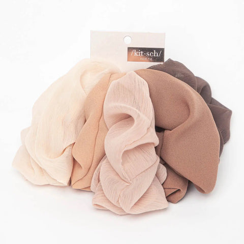 Set of 5 Crepe Scrunchies-Terra Cotta