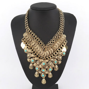 Bohemia Turquoise Inlay Statement Bib Necklace