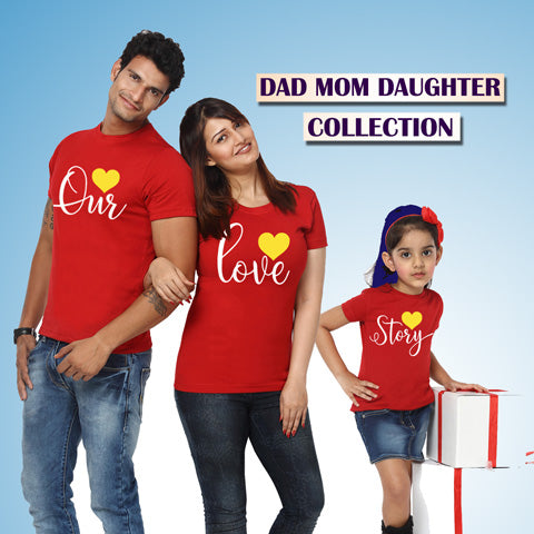 family t shirts set of 3-dad mom daughter t shirts collection-gfashion