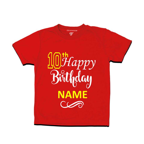 10th Happy Birthday with Name T-shirt-Red-gfashion