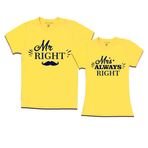 Mr and Mrs right matching couples t-shirt