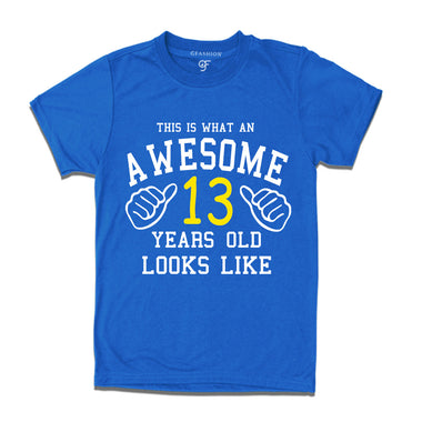 Awesome 13th Year Old Looks Like Brother T-shirt-Blue-gfashion