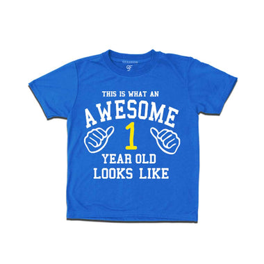 Awesome First Year Old Looks Like Boy T-shirt-Blue-gfashion