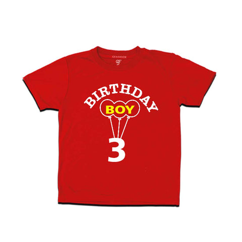 Boy 3rd Birthday T-shirt-Red-gfashion