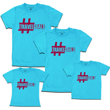 travel t shirts with travel goals print sky blue