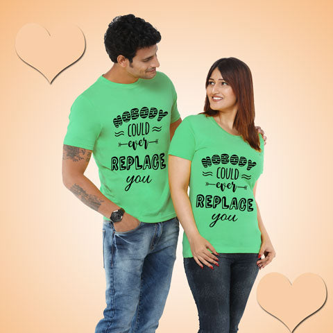 buy nobody could ever replace you couple t shirt for pre wedding shoot