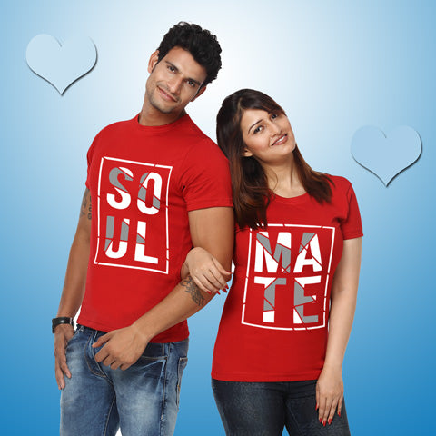 gfashion Soul Mate - Couple T-shirts-red